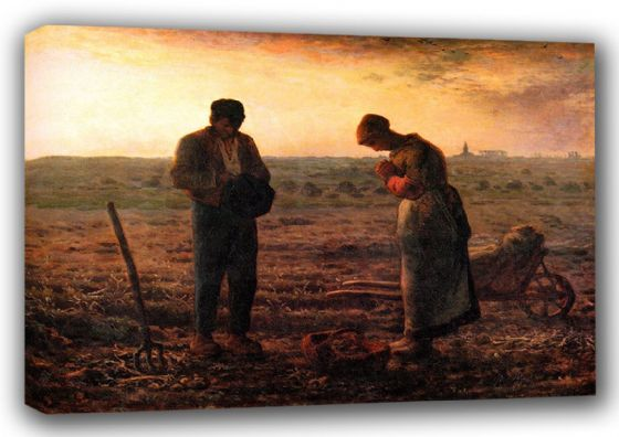Millet, Jean-Francois: The Angelus.  Fine Art Canvas. Sizes: A3/A2/A1 (00707)